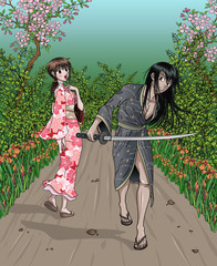 Japanese Lady and Samurai meet on forest path