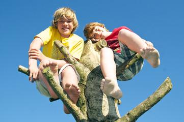 Jungen im Kletterbaum