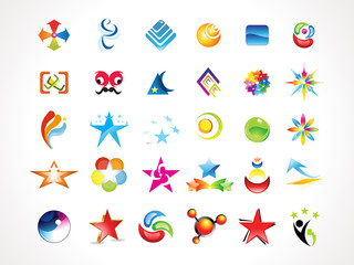 abstract multiple colorful shiny icons set
