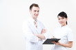 young doctor and nurse working