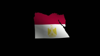 Waving Map-Shaped Egypt national flag
