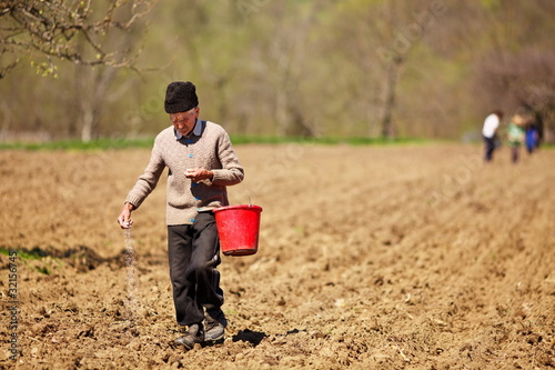 Senior farmer sowing seeds from a bucket