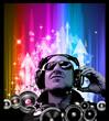 Artistic Disco Flyer with DJ shape