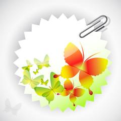 Round sticker with butterflies. Vector illustration.