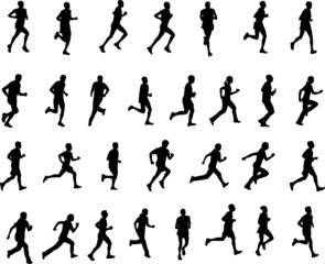 30 high quality silhouettes of people running - vector