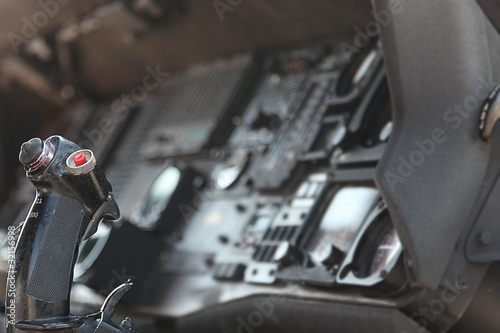 USA American  Military Jet Cockpit Controls Close Up