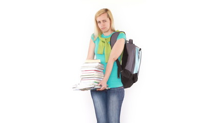 Young female stunent holding heavy big stack of books, isolated