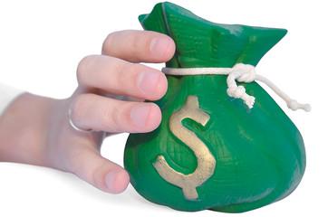hand reaching for a money bag
