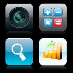 Square high-detailed app icons.