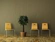 Orangene Stühle vor brauner Wand