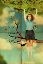 vintage collage with beauty woman on tree