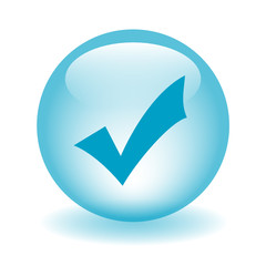 Blue TICK Web Button (confirm continue accept submit validate)