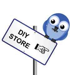 Comical DIY store sign with bird holding screwdriver