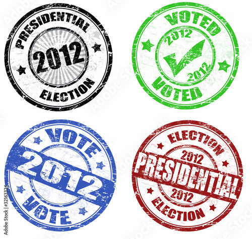 Set of presidential election grunge stamps
