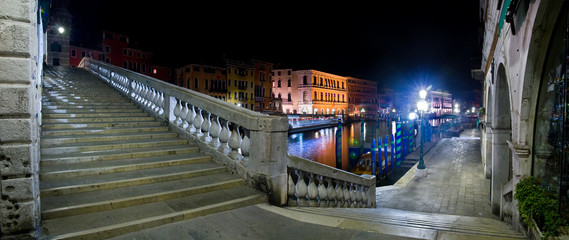 Venice, Rialto Bridge stairs at night, Italy