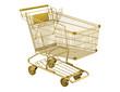 golden empty shopping cart isolated on white background