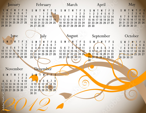 2012 Floral Calendar in Fall Colors