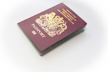 British passport on white background
