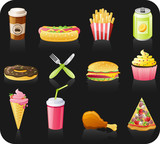 Fast food black background  icon set.