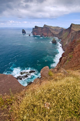 beautiful coastlilne landscape on madeira island, portugal