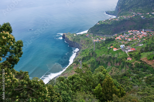 small village on coast of madeira island, portugal