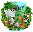 Animali Giungla Cartoon Sfondo-Jungle Animals Background-Vector