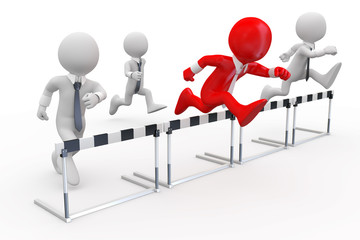 Businessmen in a hurdle race with the leader at the head
