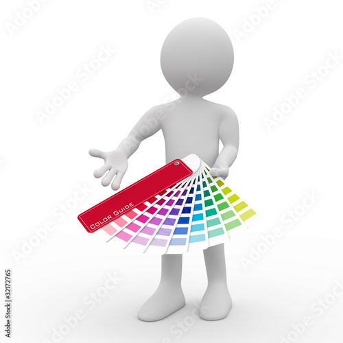 Graphic designer showing a color palette