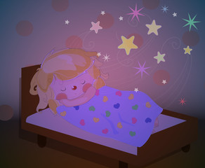 a little girl sleeping and dreaming fairytales