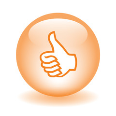 "Orange ""THUMBS UP"" Web Button (like recommend comment share ok)"