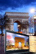 Paris, Famous Arc de Triumph at evening  with laptop,  France