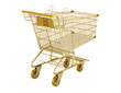 golden empty shopping cart isolated on white background