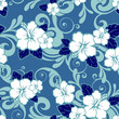 Hibiscus floral blue background seamless