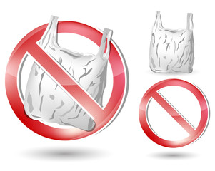 no plastic bag sign isolated on white background