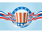 Fourth of july emblem with Uncle Sam top hat and ribbons poster