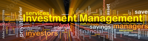 Investment management background concept glowing
