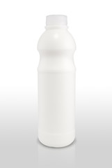 Milk bottle on white color background