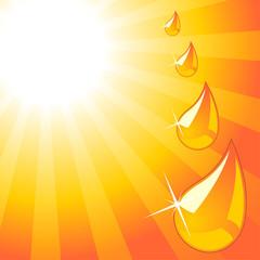 Water drops over orange starry sunny sky