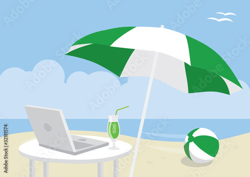 Computer with cocktail on idealistic beach landscape