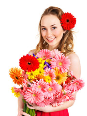 Happy young woman giving flowers.