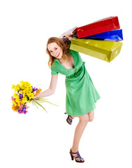 Young woman with shopping bag.