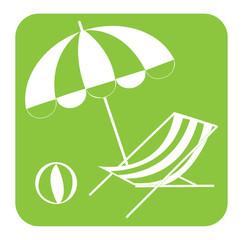 Pictogramme parasol et transat
