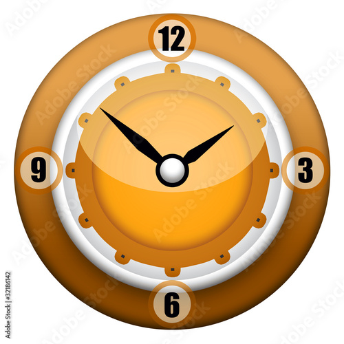 Modern design wall clock over white background