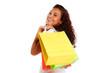 glückliches mädchen mit einkaufstaschen