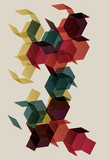 Colorful Retro Polygon Transparent Background poster