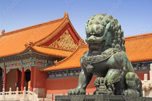 Deurstickers Beijing Wächterlöwe in der Verbotenen Stadt
