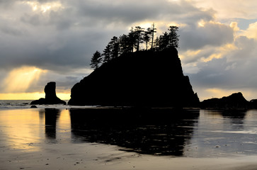 Silhouette of Sea Stack at Second Beach