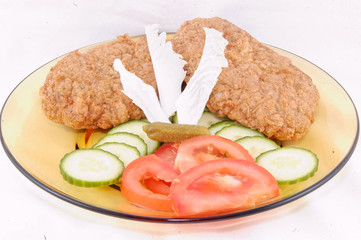 Cutlet with vegetable and salad