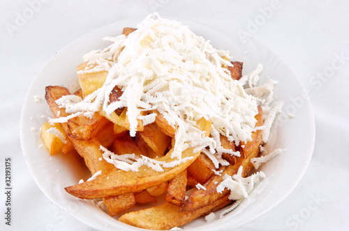 Fry potato with cheese
