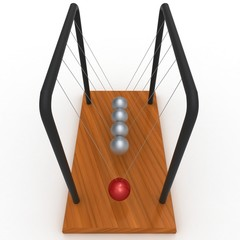 3d newton  pendulum with red ball